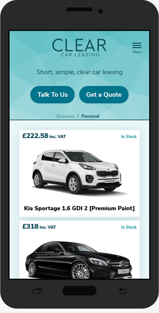 clear car leasing mobile website design